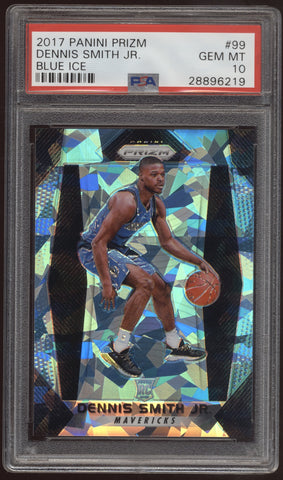 2017-18 Panini Prizm Dennis Smith Jr. Prizm Cracked Ice Blue RC /99 PSA 10