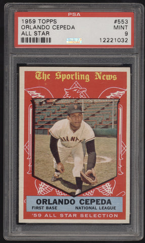 1959 Topps All-Star #553 Orlando Cepeda Giants PSA 9 Mint
