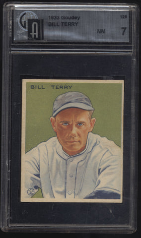 1933 Goudey #125 Billy Terry HOF NY Giants GAI 7 NM