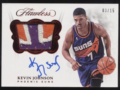 2017-18 Panini Flawless Kevin Johnson 3 Color Patch Ruby Auto /15