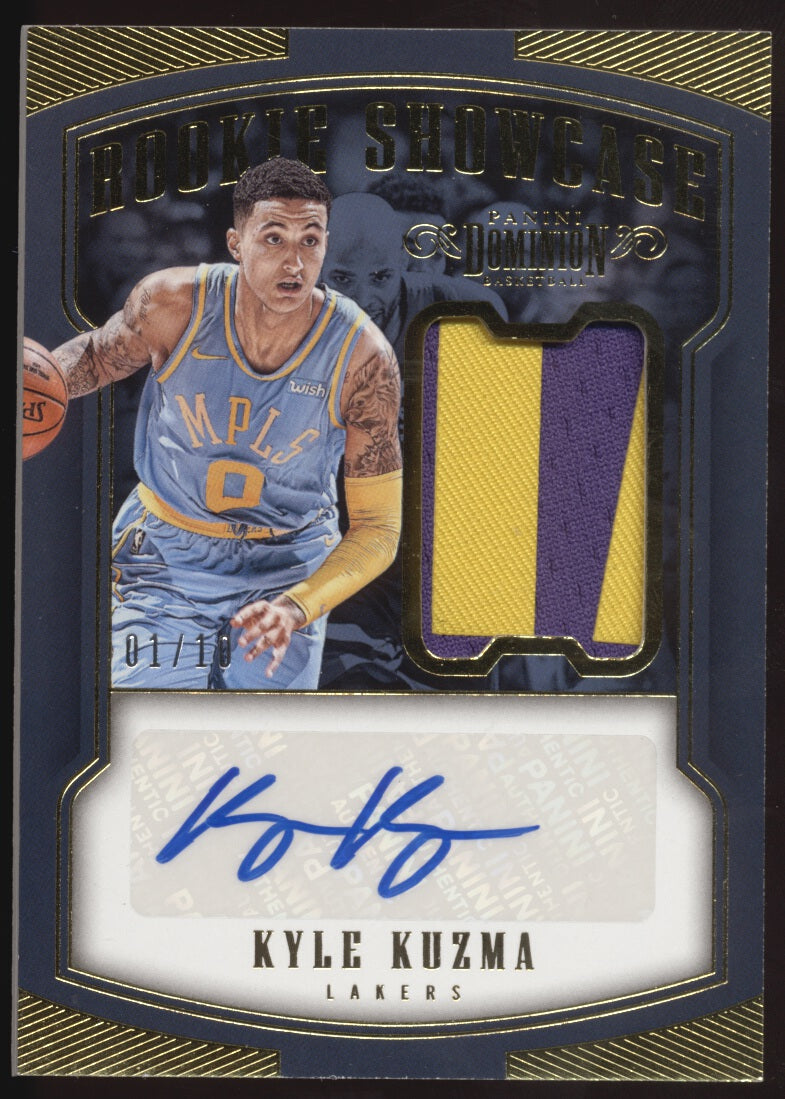 185870c24ee 2017-18 Panini Dominion Kyle Kuzma Showcase 2 Color Patch Gold RC Auto /10.  Tap to expand