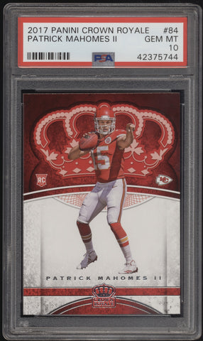 2017 Panini Crown Royale #84 Patrick Mahomes II RC Rookie PSA 10 Gem Mint