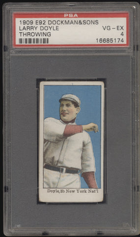 1909 E92 Dockman & Sons Larry Doyle NY Giants Throwing PSA 4 VG-EX