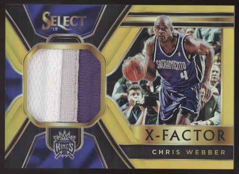 2018-19 Panini Select Chris Webber X-Factor Prizm Gold 3 Color Patch /10