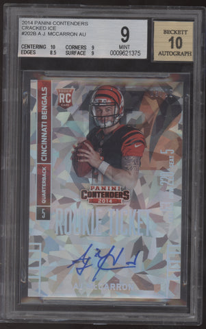 2014 Panini Contenders AJ McCarron A.J. Cracked Ice RC Auto /22 BGS 9 Mint 10