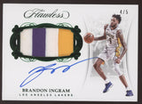 2017-18 Panini Flawless Brandon Ingram 3 Color Patch Emerald Auto /5