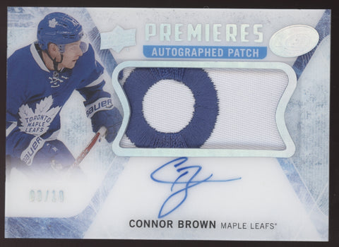 2016-17 UD Ice Premieres Connor Brown Patch RC Auto Autograph /10