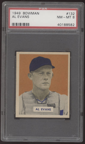 1949 Bowman #132 Al Evans Script Name on Back PSA 8 NM-MT