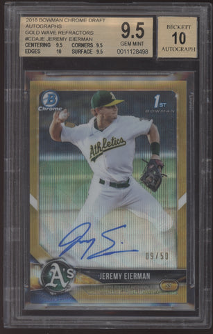 2018 Bowman Chrome Jeremy Eierman Gold Wave Refractor RC Auto /50 BGS 9.5 10