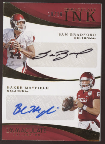2018 Panini Immaculate Baker Mayfield RC Sam Bradford Dual Auto /10