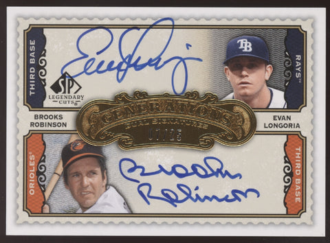 2009 SP Legendary Cuts Evan Longoria Brooks Robinson Dual Auto /25