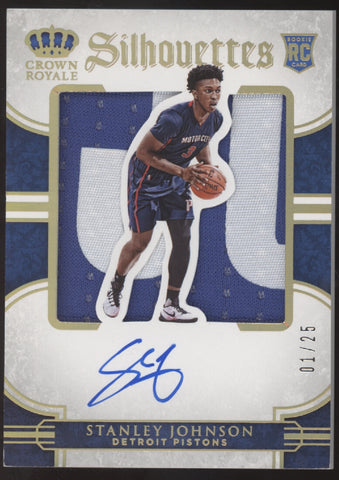 2015-16 Panini Preferred Stanley Johnson Silhouettes Patch RC Auto /25 1/1