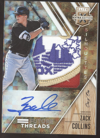 2017 Panini Elite Extra Zack Collins Future Threads Logo Patch RC Auto 1/1