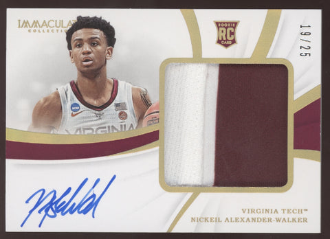 2019 Panini Immaculate Nickeil Alexander-Walker Patch Gold RC Auto /25