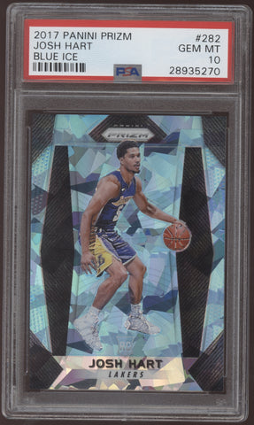 2017-18 Panini Prizm Josh Hart Prizm Cracked Ice Blue RC /99 PSA 10 Gem Mint
