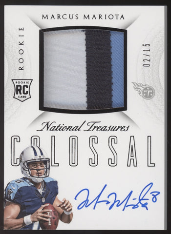 2015 National Treasures Marcus Mariota Colossal 3 Color Patch RC Auto /15