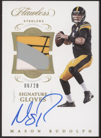 2018 Panini Flawless Mason Rudolph 4 Color Signatures Glove Patch RC Auto /20