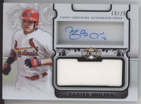 2014 Topps Triple Threads Yadier Molina Transparencies Jersey Auto /25