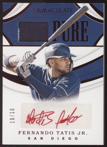 2019 Panini Immaculate Fernando Tatis Jr. Pure Jersey Red Ink RC Auto /10