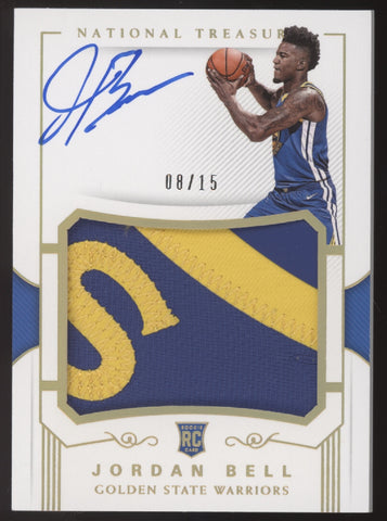 2017-18 National Treasures Jordan Bell FOTL Logo Patch RC Auto /15