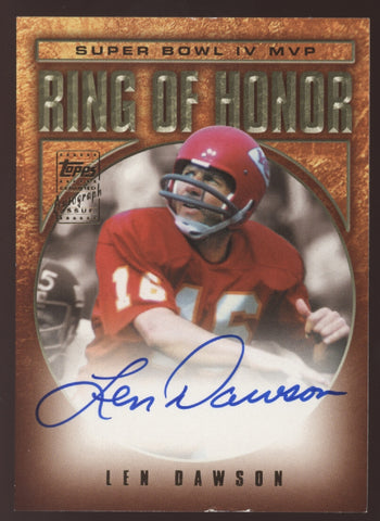 2002 Topps Ring of Honor Len Dawson Super Bowl IV MVP Auto Autograph