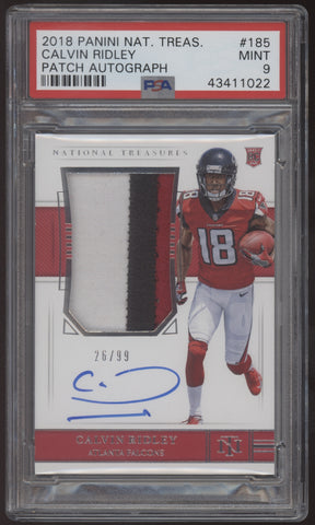 2018 National Treasures Calvin Ridley 3 Colot RPA Patch RC Autograph /99 PSA 9