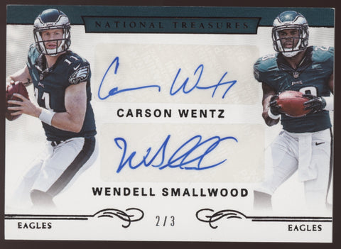 2016 National Treasures Carson Wentz Smallwood Dual RC Black Auto /3
