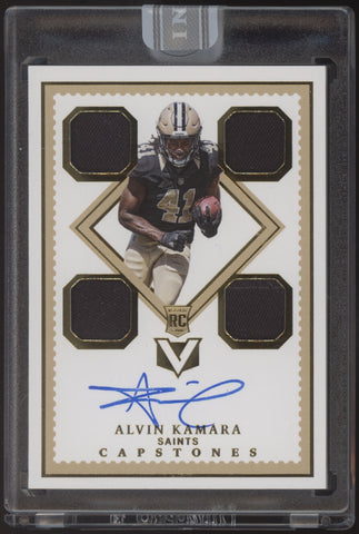 2017 Panini Vertex Alvin Kamara 2019 White Box Capstones Patch RC Auto 1/1