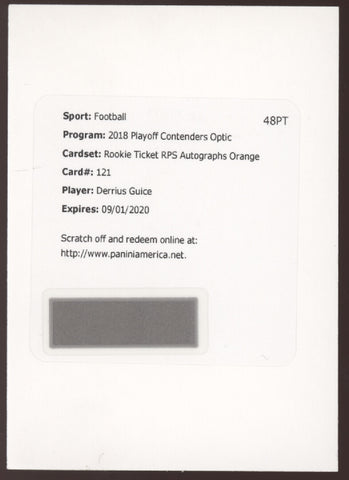 2018 Panini Contenders Optic Derrius Guice Prizm Orange RC Rookie Auto /25