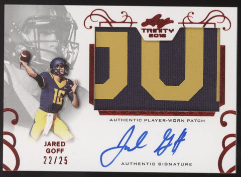 2016 Leaf Trinity Jared Goff 2 Color Letter Patch Red RC Auto Autograph /25