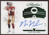 2018 Panini Flawless Nick Mullens 49ers Emerald Gem RC Auto Autograph /5