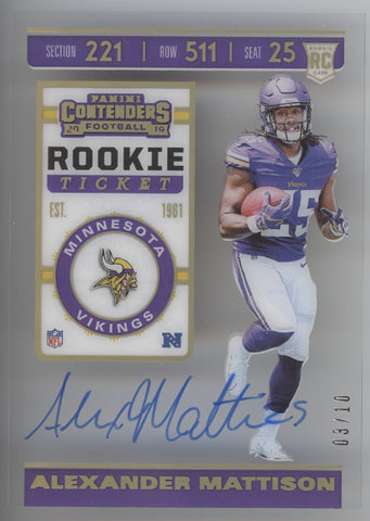 2019 Panini Contenders Alexander Mattison Clear Rookie Ticket RC Auto /10
