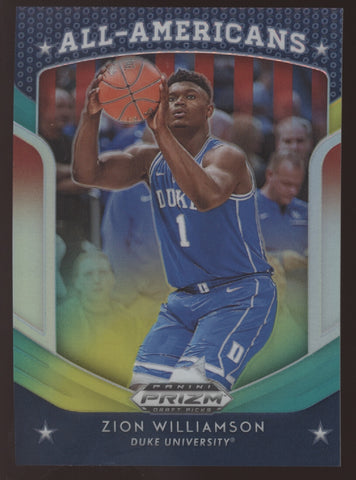 2019-20 Panini Prizm DP Zion Williamson All-Americans Green Yellow RC /249