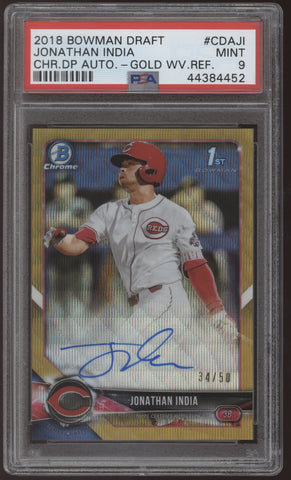 2018 Bowman Chrome Jonathan India Gold Wave Refractor RC Auto /50 PSA 9