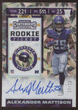2019 Panini Contenders Alexander Mattison Rookie Ticket Cracked Ice RC Auto /23