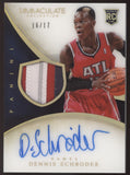2013-14 Panini Immaculate Dennis Schroder Numbers 4 Color Patch RC Auto /17