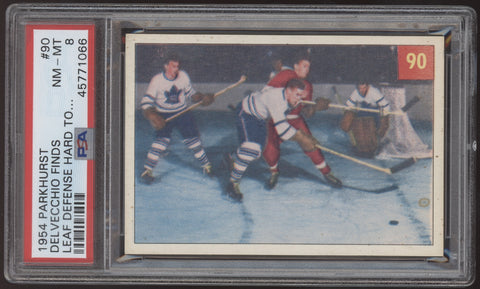 1954 Parkhurst #90 Alex Delvecchio Finds Leaf Defense Hard to Crack PSA 8 NM-MT
