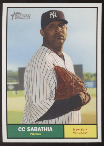 2010 Topps Heritage CC Sabathia Green Nameplate Yellow Team Color Swap SSP