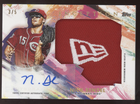 2020 Topps Inception Nick Senzel New Era Logo Jumbo Hat Patch Auto /5