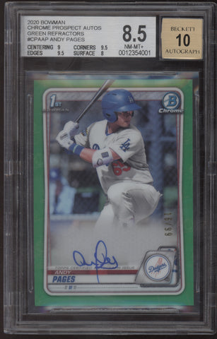 2020 Bowman Chrome Andy Pages True Green Refractor RC Auto Autograph /99