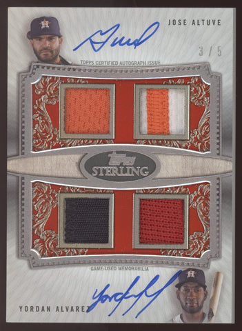2020 Topps Sterling Jose Altuve Yordan Alvarez Quad Patch Dual Red Auto /5
