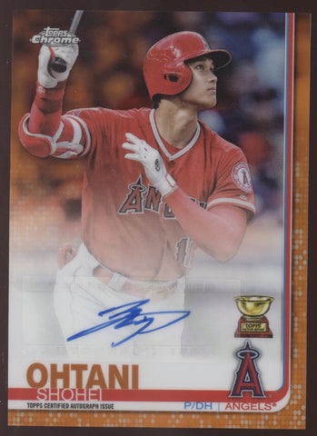 2019 Topps Chrome Update Shohei Ohtani Orange Refractor Rookie Cup Auto /25