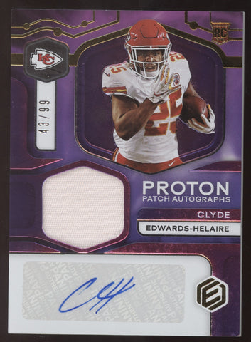 2020 Panini Elements Clyde Edwards-Helaire Proton Patch Jersey RC Auto /99