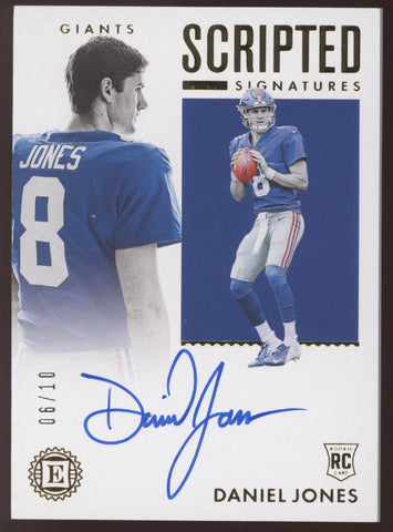 2019 Panini Encased Daniel Jones Scripted Signatures Gold RC Auto Autograph /10