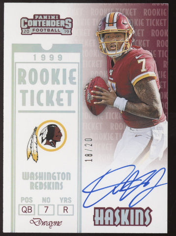 2019 Panini Contenders Dwayne Haskins 1999 Throwback Rookie Ticket RC Auto /20