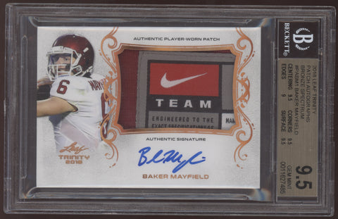 2018 Leaf Trinity Baker Mayfield Bronze Nike Logo Tag Patch RC Auto BGS 9.5 10
