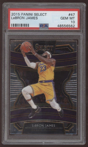 2019-20 Panini Select #47 Lebron James Lakers Concourse PSA 10 Gem Mint