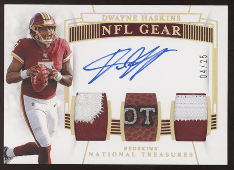 2019 National Treasures Dwayne Haskins NFL Gear Triple Ball Patch RC Auto /25
