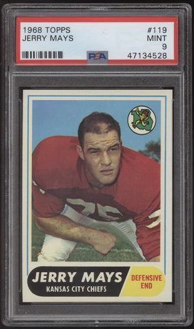 1968 Topps Football #119 Jerry Mays Chiefs PSA 9 Mint