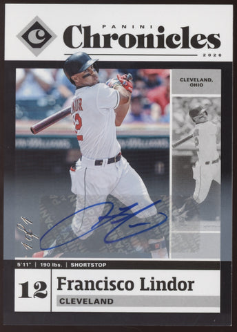 2020 Panini Chronicles #18 Francisco Lindor Black Auto Autograph True 1/1